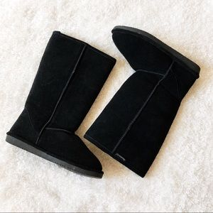Bearpaw Black Suede And Sheepskin Boots Size 12